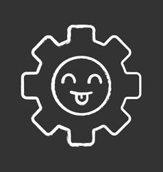 smiling cogwheel chalk icon vector image