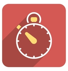 Stopwatch Flat Rounded Square Icon with Long vector