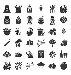 Thanksgiving icon big set glyph or solid design vector