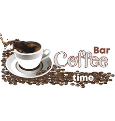 the logo of the coffee shop realistic set vector image