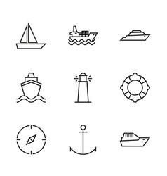 Transport ships and yachts vector