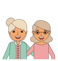 two elderly women grandparents embraced happy vector image