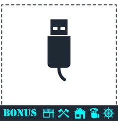 Usb plug icon flat vector