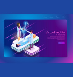 Virtual reality in medicine web banner vector