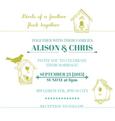 wedding vintage invitation card vector image