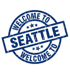 Welcome to seattle blue stamp vector