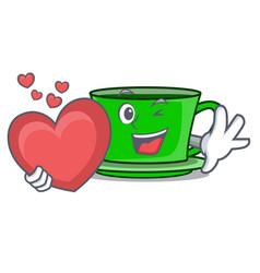 with heart green tea mascot cartoon vector image