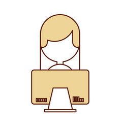 Young woman with computer character vector