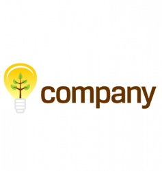 bulb company logo with plant vector image vector image