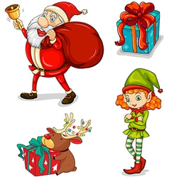 Four christmas symbols vector image vector image