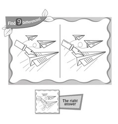 Game black find 9 differences paper airplane vector