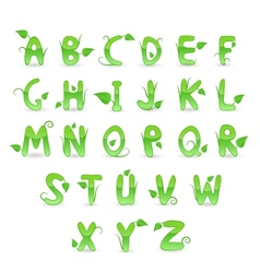 Green Floral Alphabet vector image