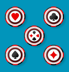 icon set of casino chips symbols with cards suits vector image