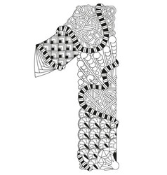 number one zentangle decorative number vector image
