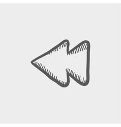 Rewind button sketch icon vector image vector image