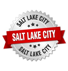 Salt Lake City round silver badge with red ribbon vector image