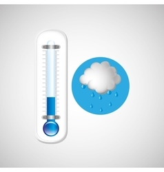thermometer blue icon rain cloud weather design vector image