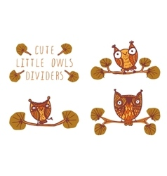 Cute little owls - dividers vector image