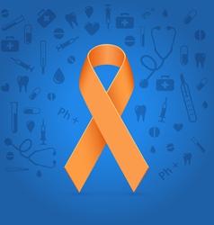 Orange ribbon over blue medical background vector image vector image