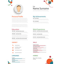 professional colored resume cv with rings template vector image