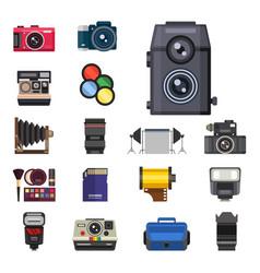 Camera photo optic lenses set different types vector