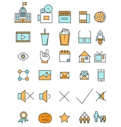 Cinema and movie industry line icons set flat vector image vector image