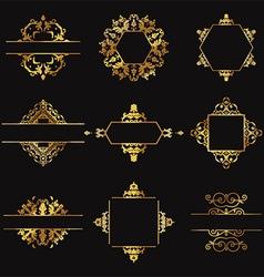 Decorative gold design elements vector