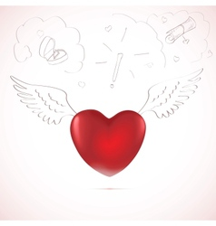 Red heart sketch vector image vector image