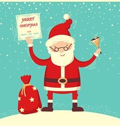 Santa Claus and christmas bell vector image