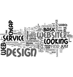 basic website design service text word cloud vector image vector image
