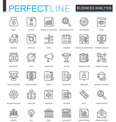 business analytics thin line web icons set vector image