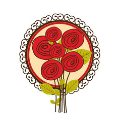 colorful set of roses with decorative circular vector image