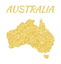 Map of Australia in golden With gold yellow vector image vector image