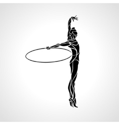 Rhythmic gymnastics with hoop silhouette vector