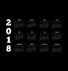 2018 year simple white calendar on german language vector image vector image