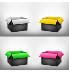 3D black multicolored box vector