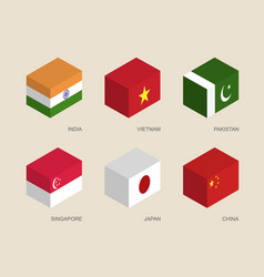 3d boxes with flags vector