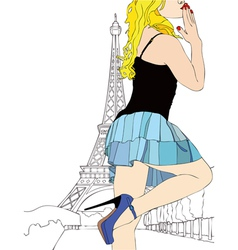 A big kiss from Paris vector image vector image