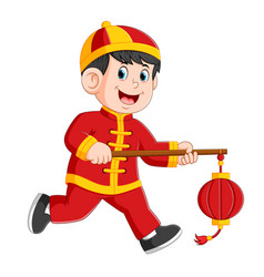 a liitle boy holding the chinese paper larent vector image