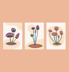 abstract minimalist mushroom art modern mushroom vector image