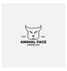 Angry dog face line american staffordshire vector