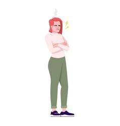 Angry woman flat negative human emotions vector