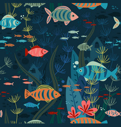 Aquarium fishes life seamless pattern vector
