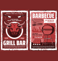 bbq picnic and barbecue grill party retro poster vector image