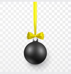 black christmas ball with yellow bow xmas glass vector image