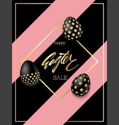 black eggs with golden gradient easter eggs vector image