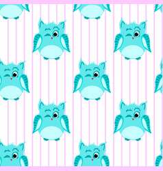 Blue-colored winking owls vector