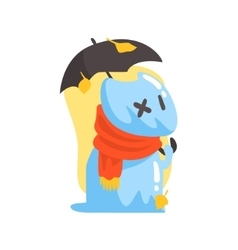 Blue Jelly Zombie Dog Monster Holding Orange vector