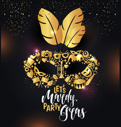 Bright carnival icons mask and sign mardy gras vector