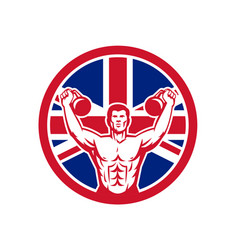 british physical fitness union jack flag icon vector image
